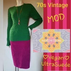 70s Vintage Mod Vegan Suede pink NORDSTROM Skirt